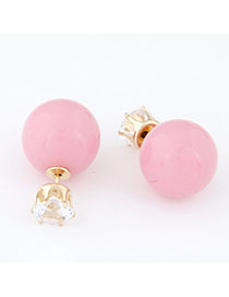 Sheer Pink Diamond Decorated Round Shape Design Alloy Stud Earrings