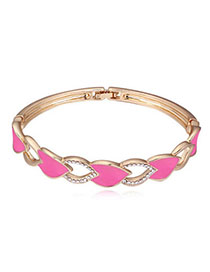 Squash Light Pink & Champagne Gold Diamond Decorated Hollow Out Design Alloy Crystal Bracelets
