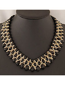 Heavy Black Beads Decorated Weave Design Alloy Bib Necklaces