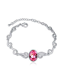 Sling Plum Red Oval Shape Gemstone Decorated Simple Design Alloy Crystal Bracelets