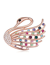 Active Multicolor & Rose Gold Diamond Decorated Swan Shape Design Alloy Crystal Brooches