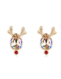 Marathon Luminous Green & Champagne Gold Antlers Decorated Waterdrop Shape Design Alloy Crystal Earrings