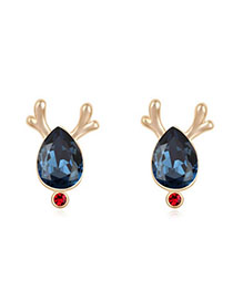 Celebrity Dark Blue & Champagne Gold Antlers Decorated Waterdrop Shape Design Alloy Crystal Earrings