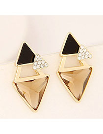 Diabetic Champagne Color Diamond Decorated Triangle Shape Design Alloy Stud Earrings