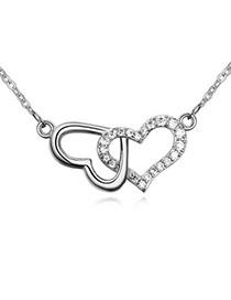 Vera White Heart Shape Decorated Simple Design Zircon Crystal Necklaces
