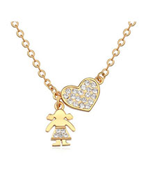 Woolrich White & Champagne Glod Heart Shape Decorated Simple Design Zircon Crystal Necklaces