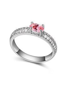 Coast Pink Diamond Decorated Simple Design Zircon Crystal Rings