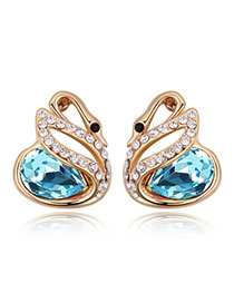 Pleated Navy Blue & Champagne Gold Diamond Decorated Swan Shape Design Alloy Crystal Earrings