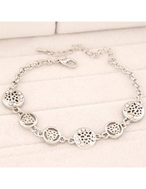 Heather Silver Color Leopard Shape Decorated Hollow Out Design Alloy Korean Fashion Bracelet