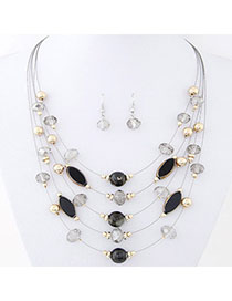 Maternity Black Beads Decorated Mutilayer Design Alloy Jewelry Sets