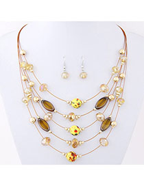 Connor Yellow Beads Decorated Mutilayer Design Alloy Jewelry Sets