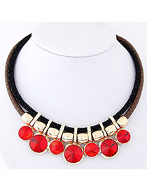 Buckle Red Gemstone Decorated Double Layer Design Alloy Bib Necklaces
