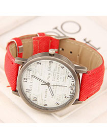 Rosary Red Letter Patern Simple Design Alloy Ladies Watches