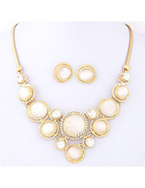 Scrabble White Diamond Decorated Round Shape Design Alloy Jewelry Sets