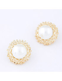 Infinity White Round Shape Decorated Simple Design Alloy Stud Earrings