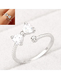 Trendy Silver Color Bowknot Shape Decorated Simple Design Alloy Korean Rings