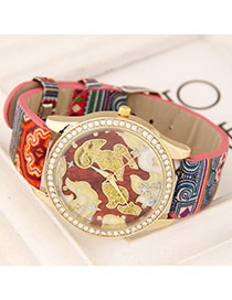 Satchel Red Diamond Decorated Sheep Pattern Design Alloy Ladies Watches