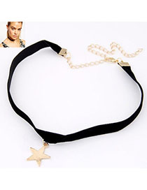 Mens Gold Color Star Pendant Decorated Simple Design