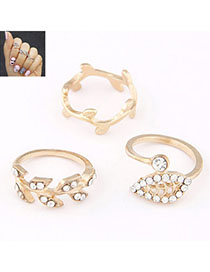 Asian Gold Color Diamomd Decorated Leaf Shape Design Alloy Korean Rings