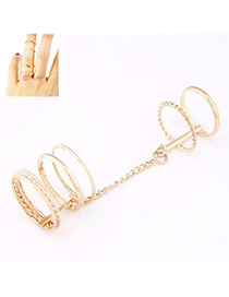 Lace Gold Color Round Shape Simple Design Alloy Korean Rings