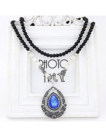 Locket Blue Diamond Decorated Waterdrop Pendant Design Alloy Bib Necklaces