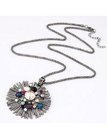 Timeless Multicolor Gemstone Decorated Simple Design Alloy Bib Necklaces