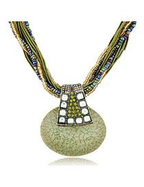 Exquisite Light Green Gemstone Decorated Simple Design Alloy Bib Necklaces