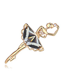 Twilight Black & Champagne Gold Dancing Girl Shape Decorated Simple Design Alloy Crystal Brooches