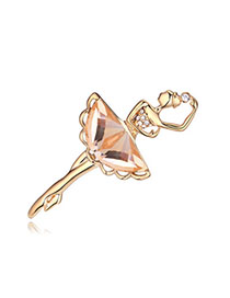 Graduation Light Coffee & Champagne Gold Dancing Girl Shape Decorated Simple Design Alloy Crystal Brooches