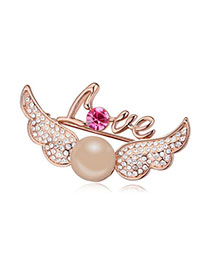 Micro Copper & Rose Gold Pearl Decorated Wings Shape Design Alloy Crystal Brooches