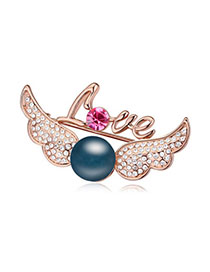 Wonderful Dark Blue & Rose Gold Pearl Decorated Wings Shape Design Alloy Crystal Brooches