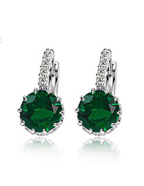 Bead Green Diamond Decorated Simple Design Alloy Crystal Earrings