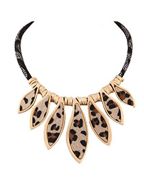 Moving Brown Leopard Pattern Decorated Simple Design Alloy Fashion Necklaces