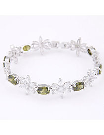 Clutch Light Green Diamond Decorated Flower Design Zircon Korean Fashion Bracelet