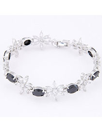 Cool Black Diamond Decorated Flower Design Zircon Korean Fashion Bracelet