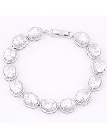 Flip White Diamond Decorated Oval Shape Design Zircon Korean Fashion Bracelet