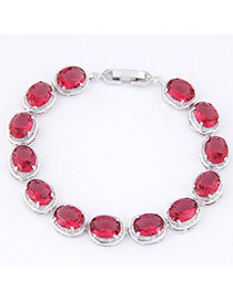 Slim Plum Red Diamond Decorated Oval Shape Design Zircon Korean Fashion Bracelet