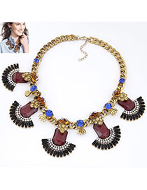 Wide Claret-red Diamond Decorated Fan Shape Design Alloy Fashion Necklaces