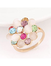 Hiking Multicolor Diamond Decorated Flower Design Alloy Korean Rings