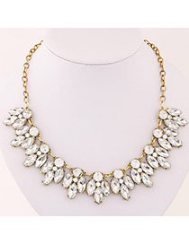 Political White Diamond Decorated Waterdrop Shape Design Alloy Korean Necklaces