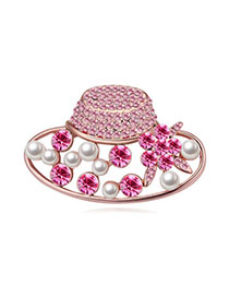 Concealed Light Plum Red & Rose Gold Diamond Decorated Hat Shape Design Alloy Crystal Brooches