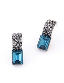2013 Blue Gemstone Decorated Square Shape Design