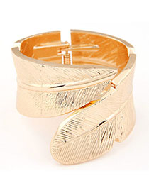 Butterfly Gold Color Leaf Shape Decorated Simple Design Alloy Fashion Bangles