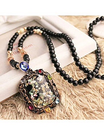 Political Multicolor Beads Decorated Square Pendant Design Alloy Bib Necklaces