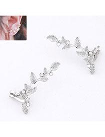 2012 Silver Color Diamond Decorated Leaf Shape Design Alloy Stud Earrings