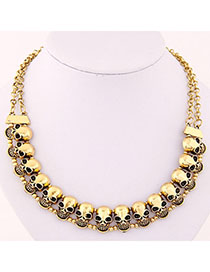 Fashion Gold Color Skull Shape Decorated Simple Design Alloy Bib Necklaces