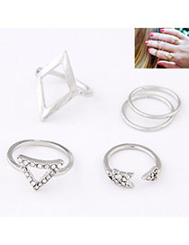 Unique Silver Color Diamond Decorated Triangle Shape Design (5pcs)