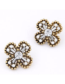 Baptism White Diamond Decorated Cross Shape Design Alloy Stud Earrings