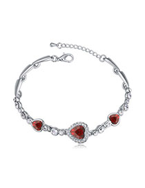 Alternativ Red Heart Shape Decorated Simple Design Alloy Crystal Bracelets