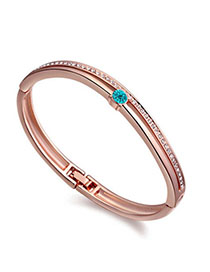 Fashionabl Blue & Rose Gold Diamond Decorated Simple Design Alloy Crystal Bracelets